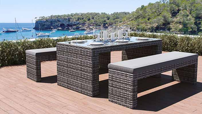 Florence - Set panchine in rattan sintetico